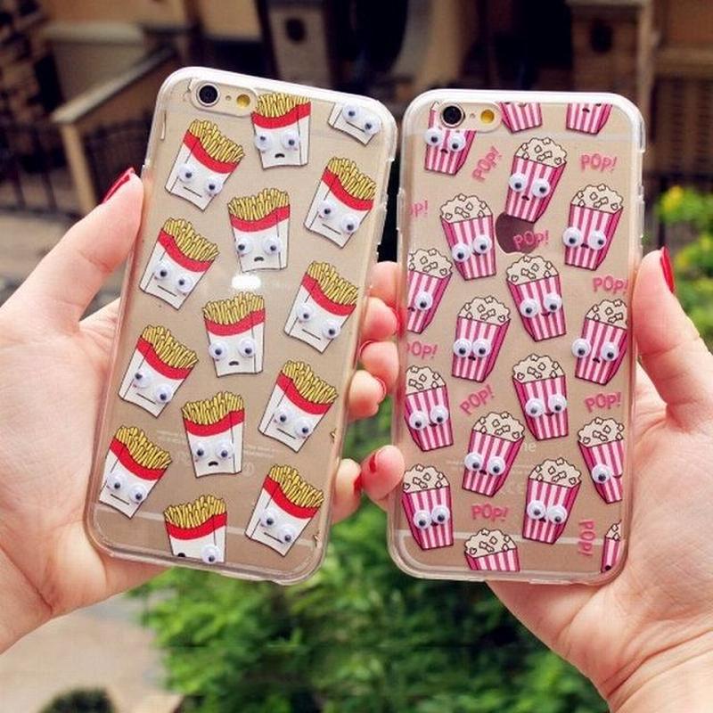 iphone-02012 目玉が動く キャラクター ポテト ドーナツ ポップコーン iPhoneケース