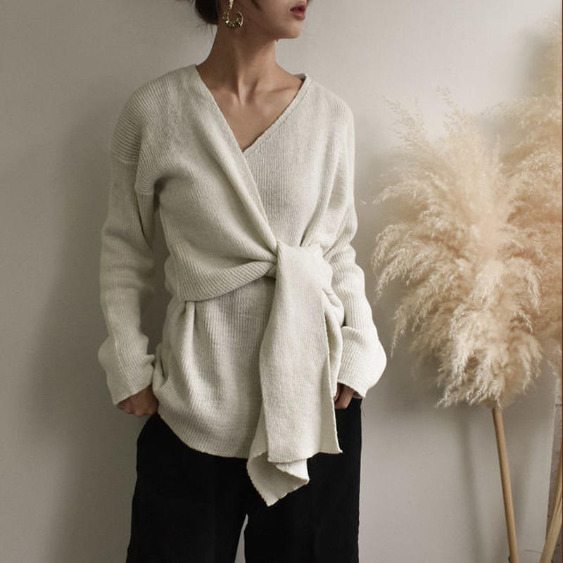 3月中旬~3月下旬入荷分 予約販売 knit-02001 カシュクールニット モカ オフホワイト グレー