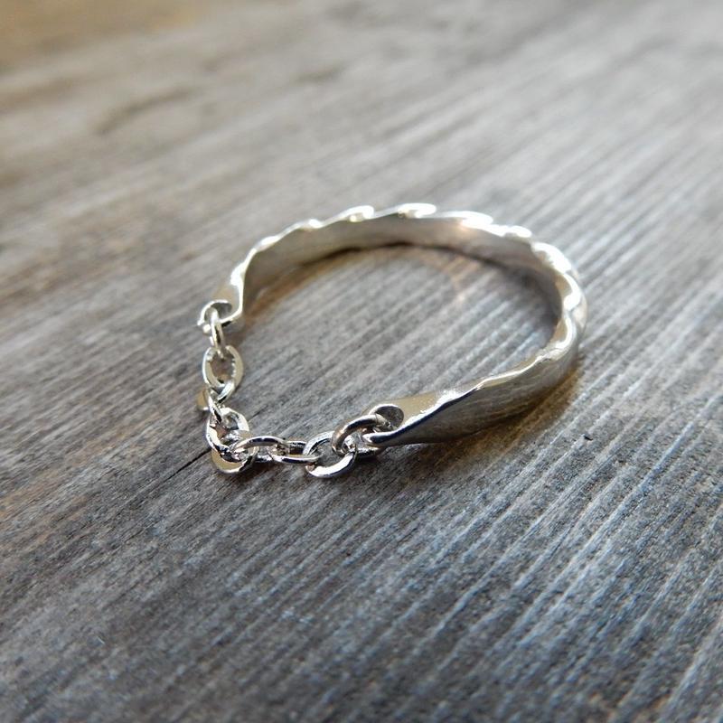 ring-02080 送料無料! サイズ調整可能 シルバーチェーンリング ☆WA04