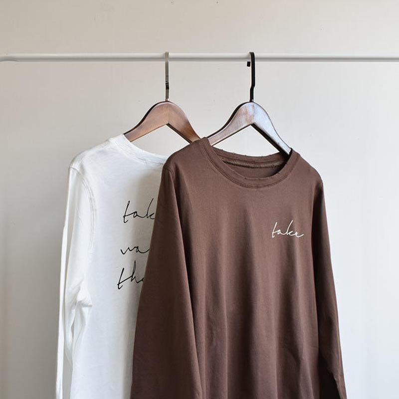3月中旬~3月下旬入荷分 予約販売 tops-02017  ヴィンテージ風 ロゴデザインロングTシャツ ホワイト  ブラウン
