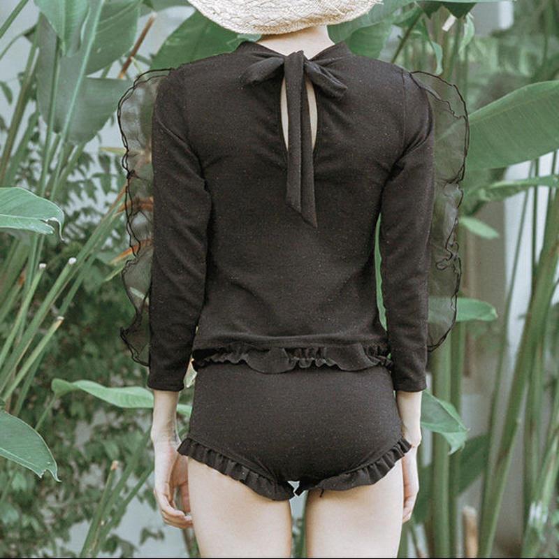 swim-02277 ブラック  ラメ 長袖ラッシュガード  水着 スイムウェア  黒