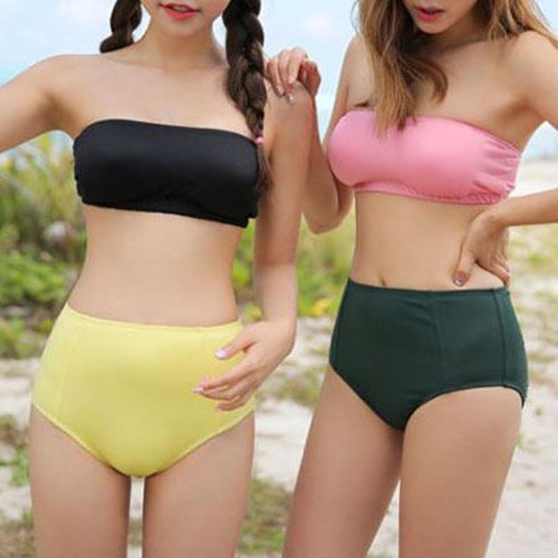 swim-02150 バンドゥ ビキニ バイカラー 水着 スイムウェア カップ付き レディース