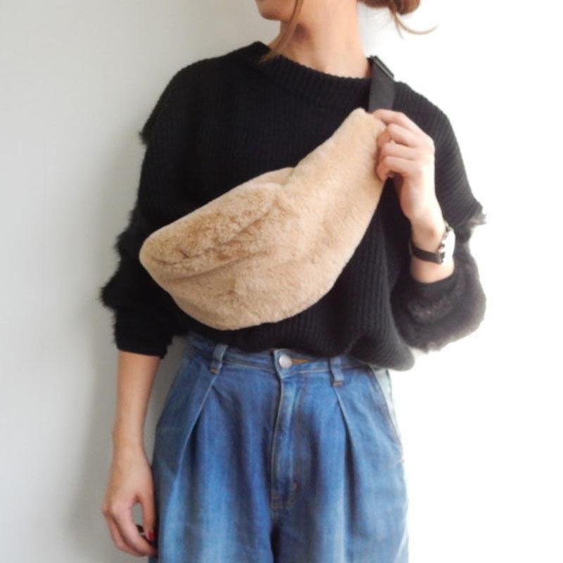 bag2-02294 エコファーウエストポーチ ベージュ ブラック ブラウン