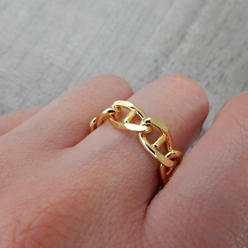 ring-02100 送料無料! リンクチェーンリング 13号 日本製 ゴールド・シルバー  ☆WA04