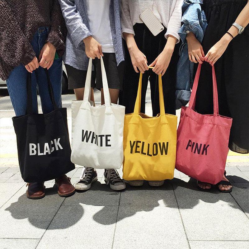 bag2-02173 送料無料! カラーネーム  トートバッグ エコバッグ イエロー ピンク ホワイト ブラック
