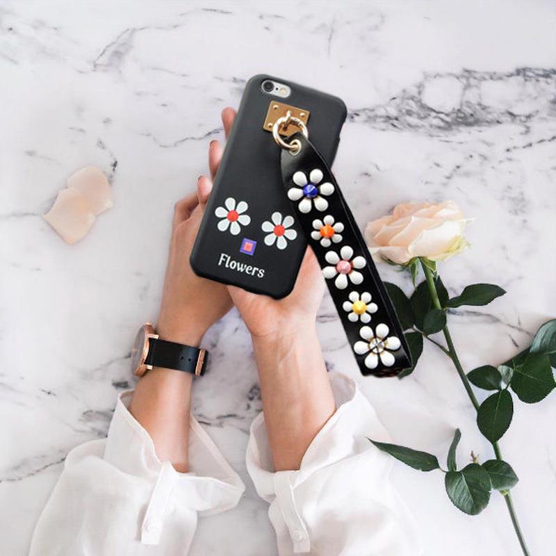 iphone-02290 送料無料! ホワイトフラワー スタッズ付きストラップ Flowers iPhoneケース