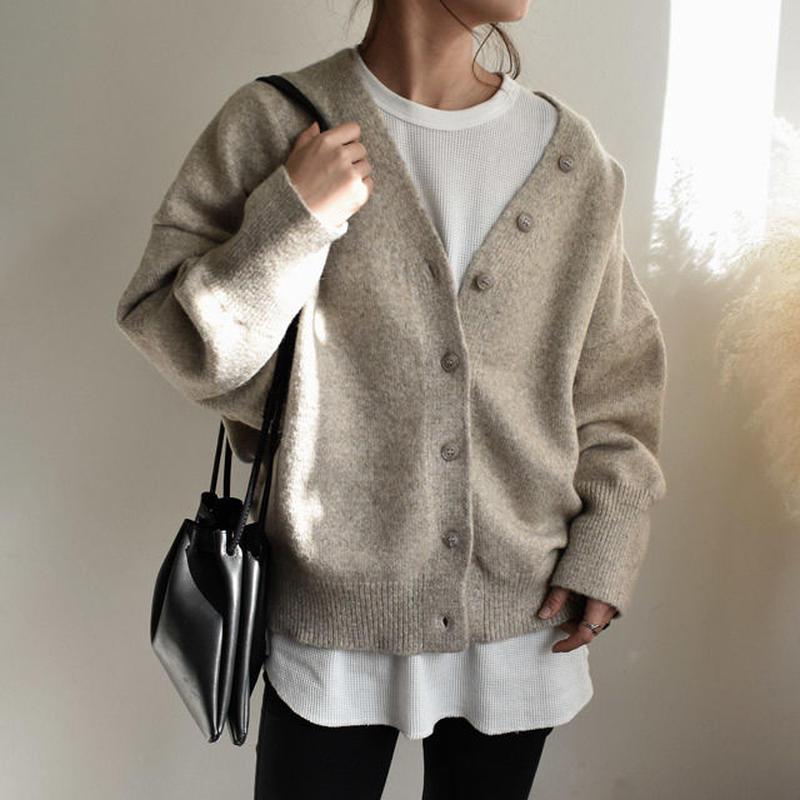 3月末入荷分 予約販売 knit-02021 オーバーサイズ ウール混 コクーンカーディガン エクリュ モカ グレー