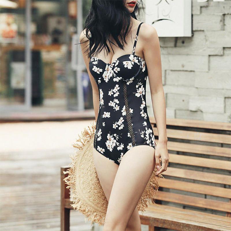 swim-02114 花柄 ブラック モノキニ 水着 スイムウェア レディース カップ付き ワンピース 黒