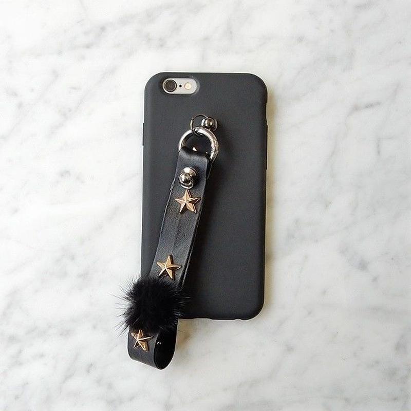 iphone-02335 ブラック スタースタッズ ストラップ付き iPhoneケース