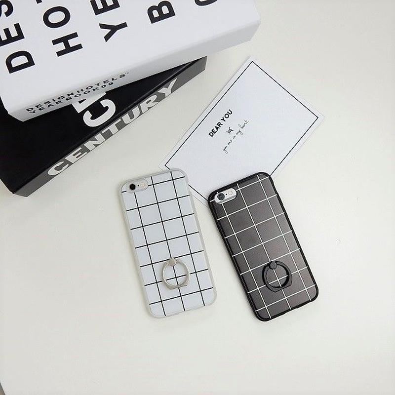 iphone-02275 送料無料! バンカーリング付き モノクロ グラフチェック柄 ブラック ホワイト 黒白 モノトーン  iPhoneケース