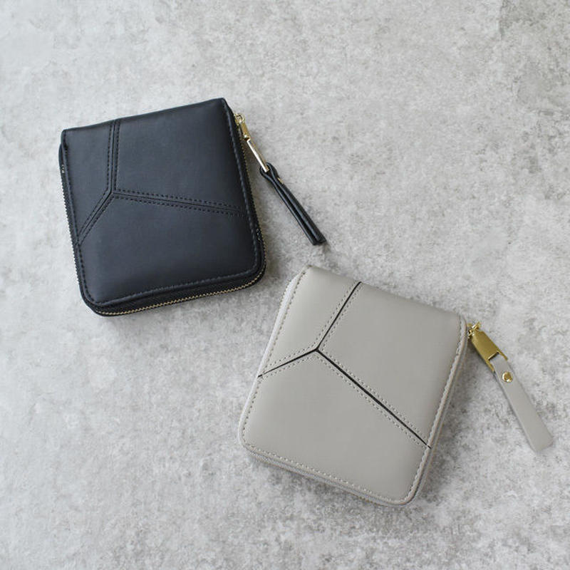 wallet-02035 ファスナー二つ折りデザイン ミニ財布 小銭入れ付き  ミニウォレット