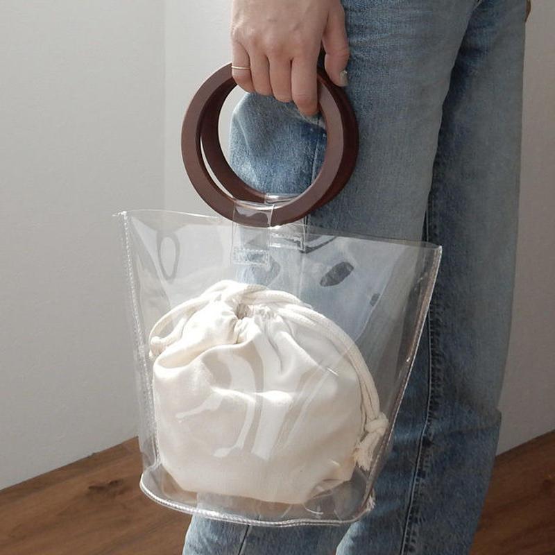 bag2-02326 PVC素材 ウッドハンドル クリアバッグ バケツバッグ 巾着袋付き