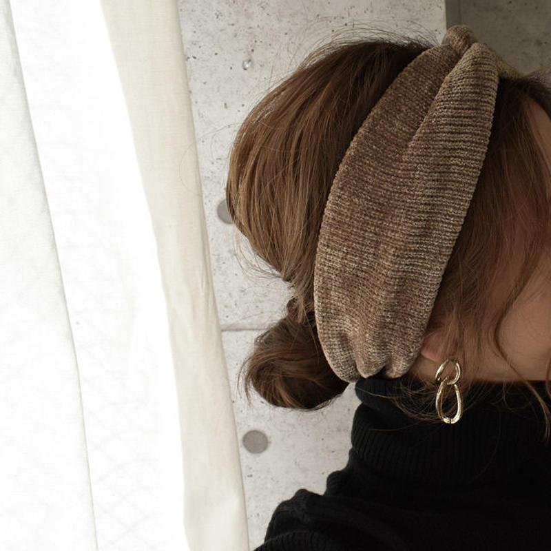 hair2-02026 送料無料! コーデュロイ ツイストニットヘッドバンド モカ ダークブラウン テラコッタ