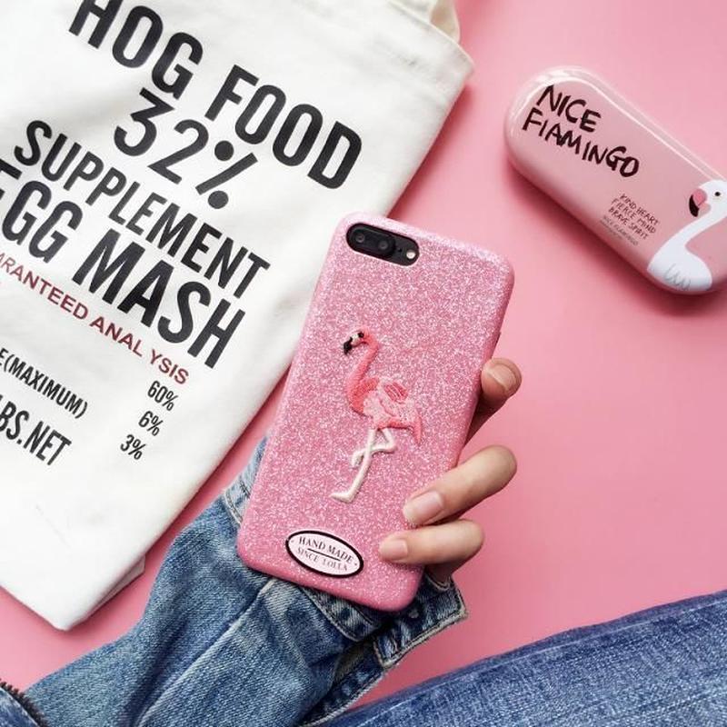 iphone-02374 送料無料! フラミンゴ ワッペン ピンク iPhoneケース