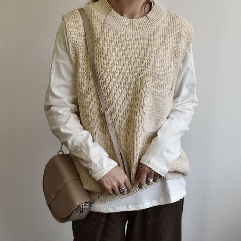 knit-02033 ポケット付き オーバーサイズニットベスト エクリュ