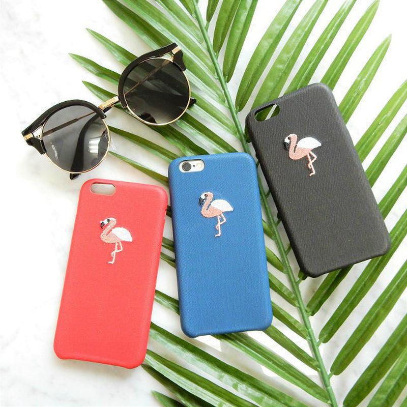 iphone-02352 送料無料! 刺繍 フラミンゴ iPhoneケース
