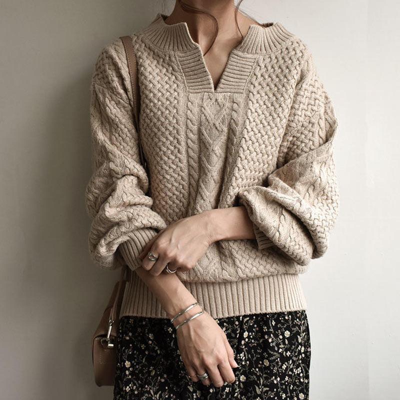 knit-02030 キーネック アランニットプルオーバー ベージュ