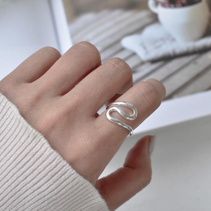 ring2-02015 送料無料! SV925コーティング リップルデザインリング
