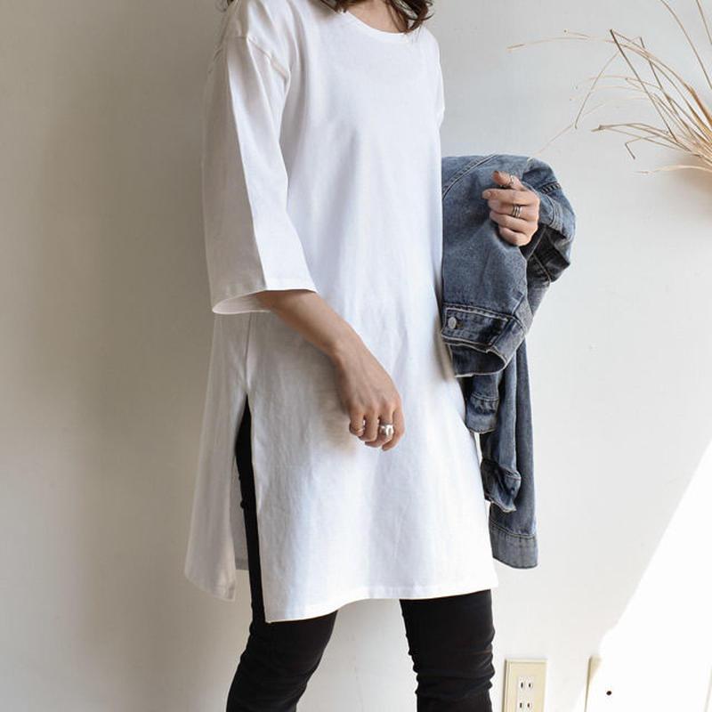 4月中旬~4月下旬入荷分 予約販売 tops-02040 オーバーサイズ 7分袖スリットTシャツ ホワイト
