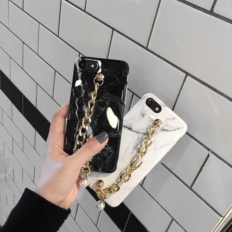iphone-02346 送料無料! 大理石風 チェーンベルト付き マーブル柄 天然石柄 ストーン柄 iPhoneケース