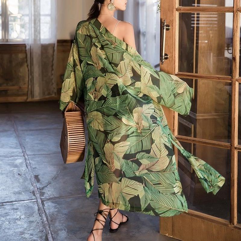 gown-02004 リーフ柄 ロングガウン カバーアップ レディース