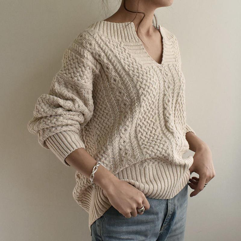 再入荷分の予約販売待ち knit-02022 キーネック アランニットプルオーバー オフホワイト