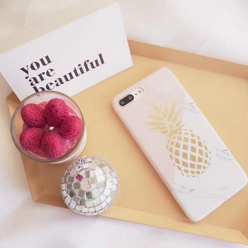 iphone-02383 送料無料! パイナップル×大理石柄 ミックス iPhoneケース