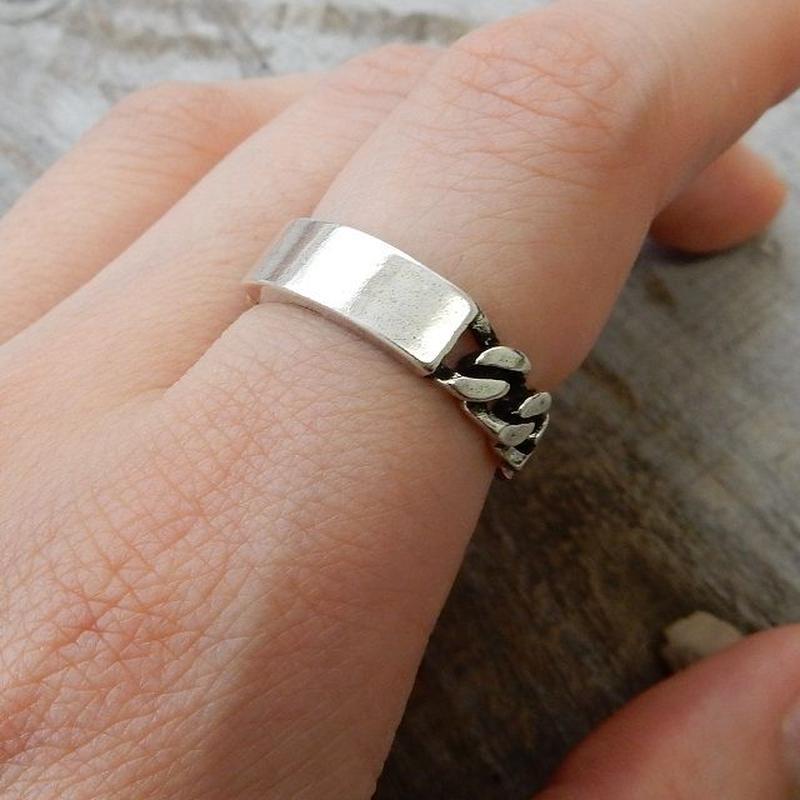 ring-02109 送料無料☆ シルバープレートチェーンリング 指輪 11号から上にサイズ調整可能