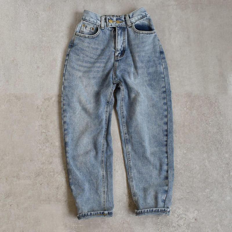 4月上旬~4月中旬入荷分 予約販売 bottoms-02003 ウォッシュ加工 テーパードデニムパンツ ブルー