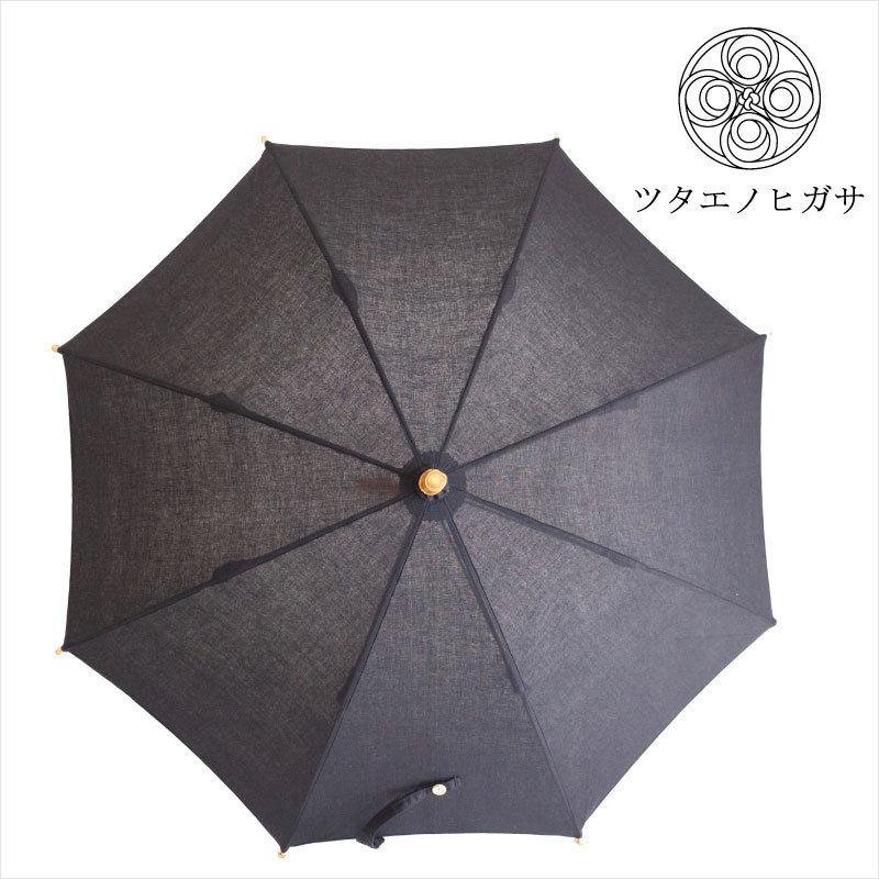傳(ツタエノヒガサ)浜松注染 日傘/ 長傘タイプ「キツネノタスキ - 黒ム地 」