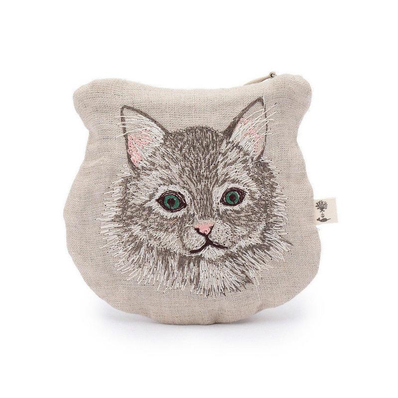[お届けは4月中旬頃の予定です-ご予約販売] Coral & Tusk/コーラル・アンド・タスク「Siberian Cat」猫モチーフ刺繍 ミニポーチ