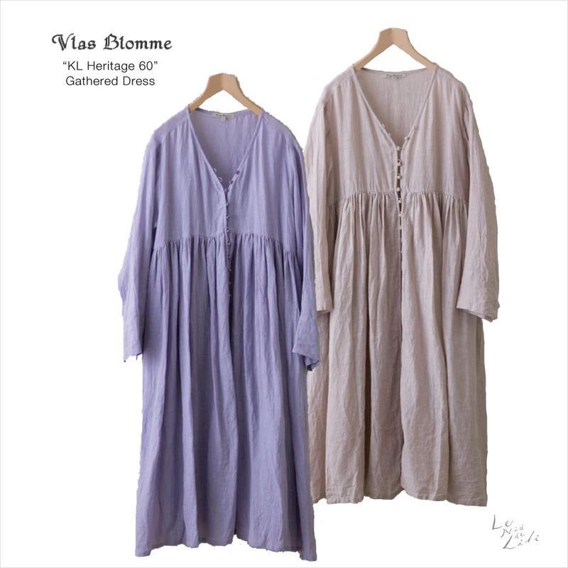 Vlas Blomme(ヴラスブラム)  KL Heritage 60(ムラ染め)ギャザーワンピース 13218591