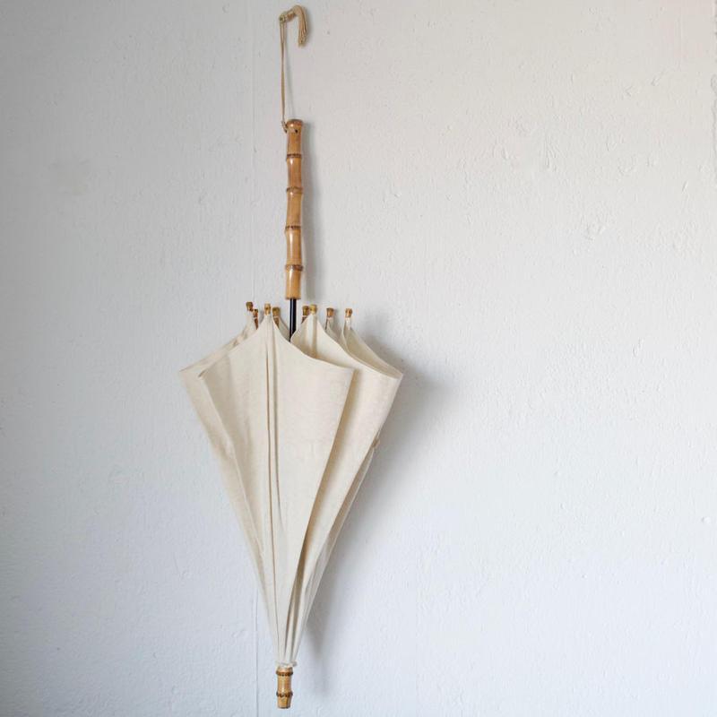 傳(ツタエノヒガサ)コットンリネン織り柄 日傘/ 長傘タイプ「キツネノタスキ -オリエンス生成り 」