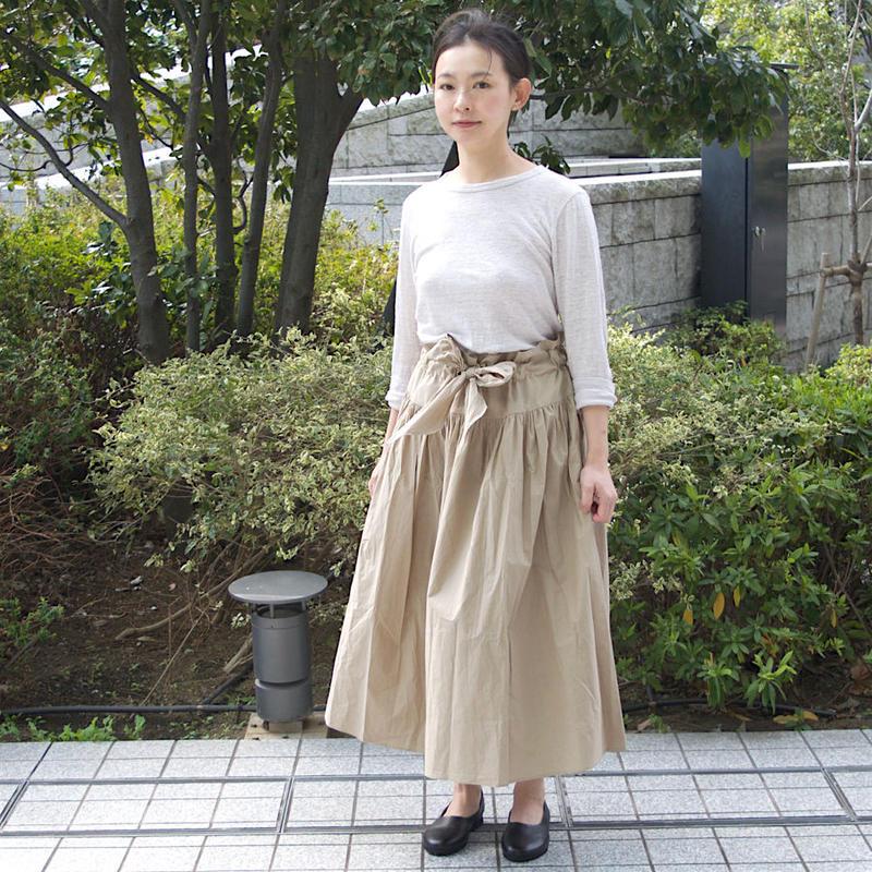 Honnete(オネット)ストラップ付き 2wayロングスカート(SK3 Gathered Skirt) col.ベージュ