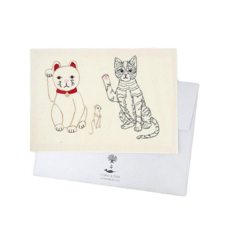 [お届けは4月中旬頃の予定です-ご予約販売] Coral & Tusk/コーラル・アンド・タスク「Lucky Cats」グリーティングカード