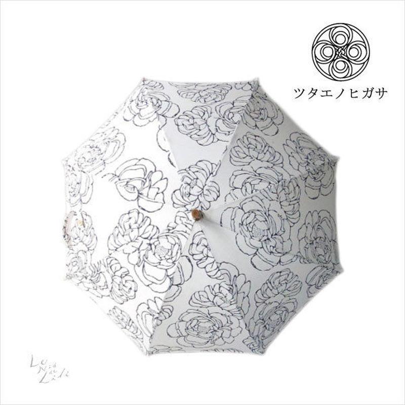 傳(ツタエノヒガサ)浜松注染 日傘/ 長傘タイプ「キツネノタスキ - オハナ生成り 」