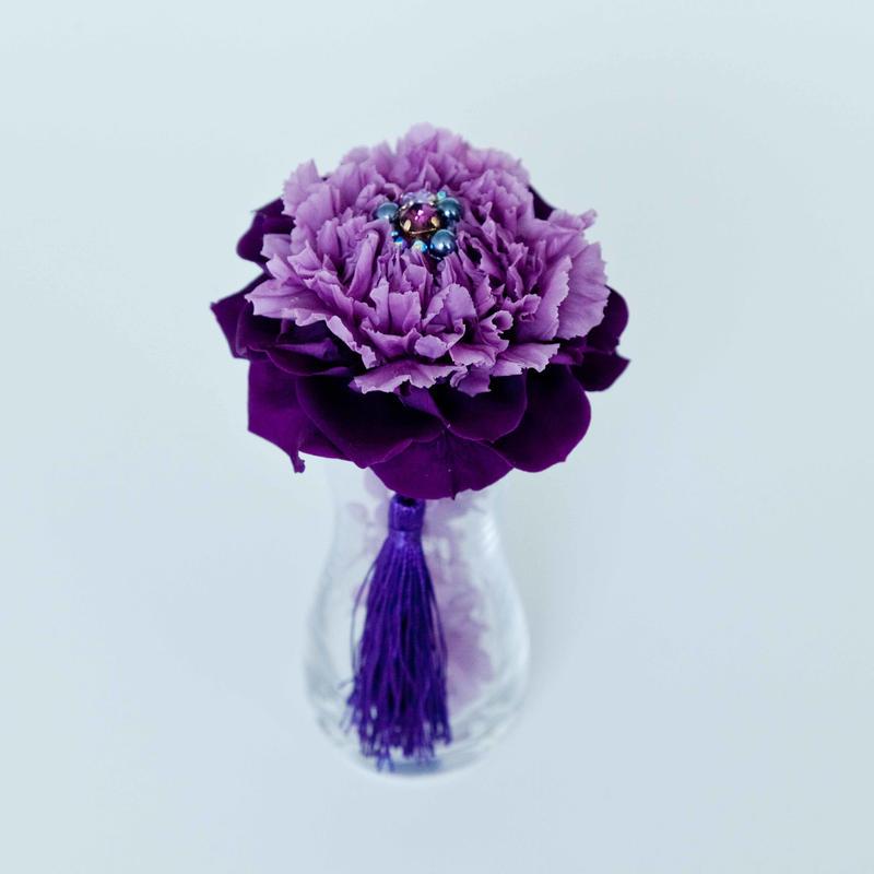 Jewel Flower プリザーブドフラワーガラス花器付き(PUR)
