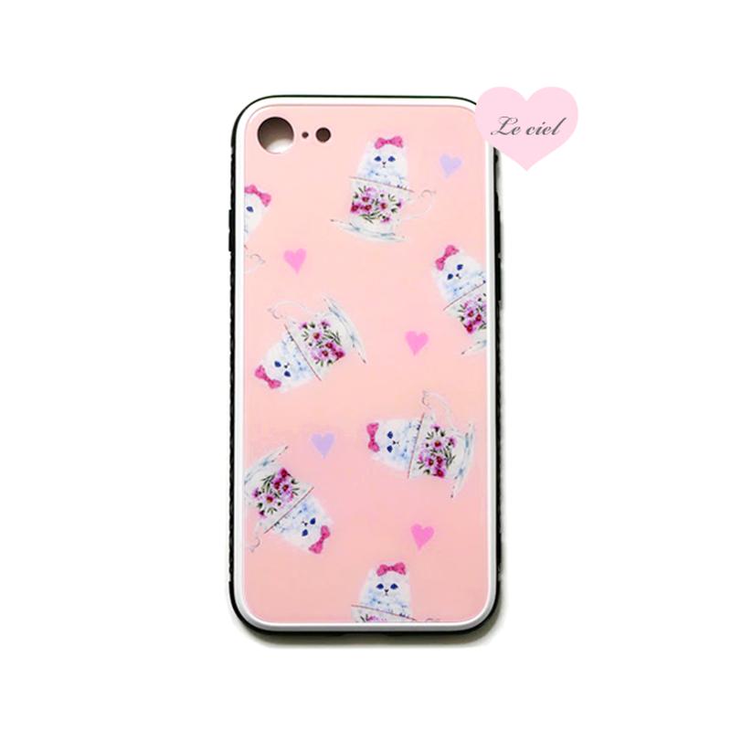強化ガラス仕上げ iPhoneケース ピンク ティーカップキャット