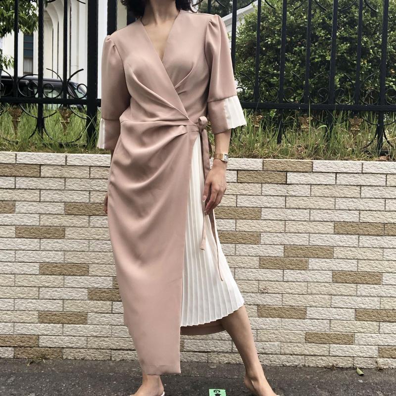 pleats wrap dress