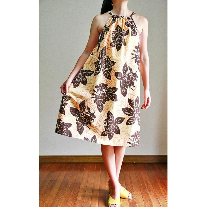 SWING DRESS  BROWN PLUMERIA ワンピース HNLS02794-47210