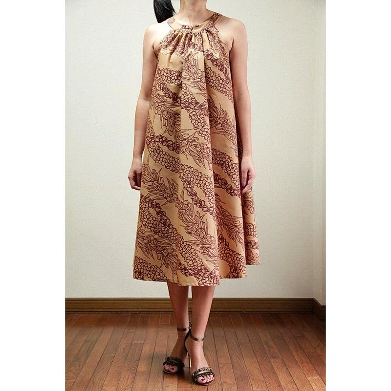 Ginger Dress APRICOT/PIKAKE LEI  ジンジャードレス HNLS02745-55310