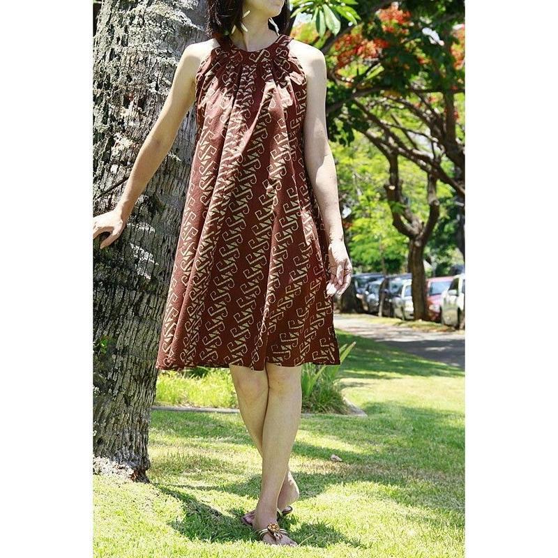 NOANOA ブラウン タパフック ミニジンジャードレス HNLS02239-847110