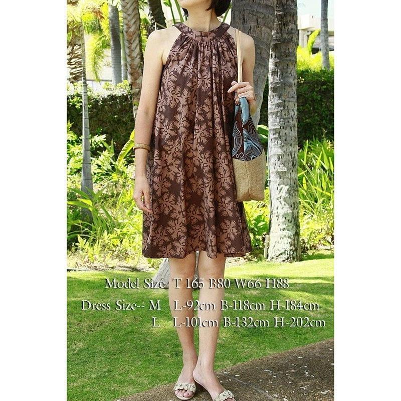NOANOA シエナブラウン ハワイアンキルト ミニジンジャードレス HNLS02173-216110