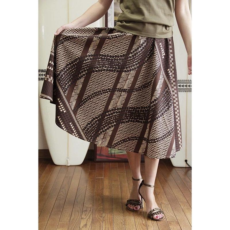 Flare Skirt ハワイアンタトゥータパブラウン HNLS02638-81410