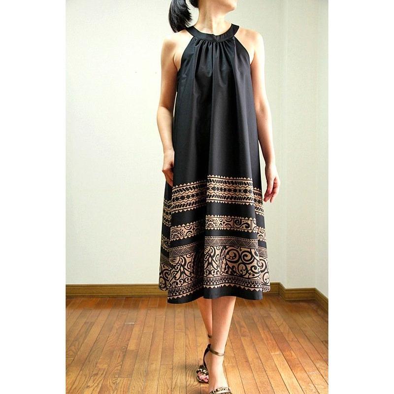 Ginger Dress ブラックタパプリント  ジンジャードレス HNLS02029-81210