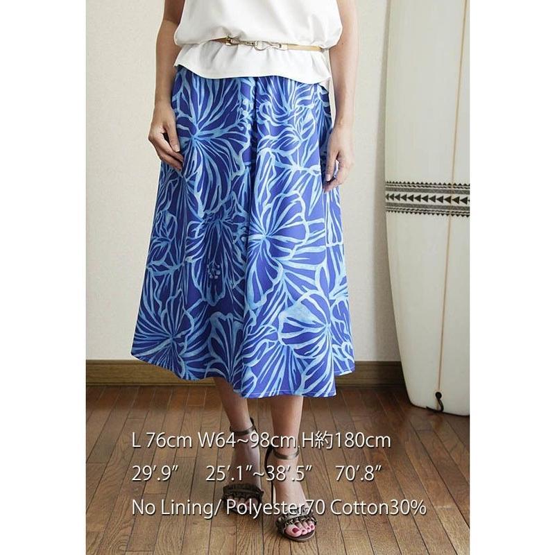 Flare Skirt ラニカイブルー ハイビスカス HNLS02682-53310