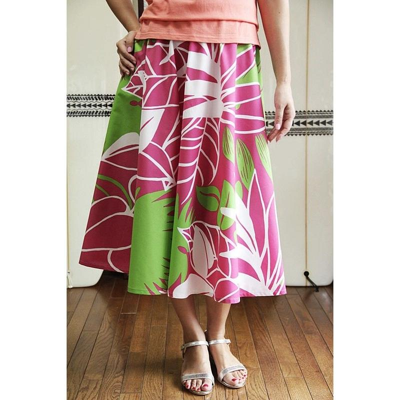 Flare Skirt パームリーフ ピンク HNLS02641-81410