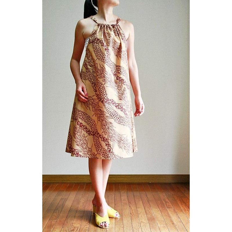 SWING DRESS  PIKAKE  LEI / APRICOT ワンピース HNLS02784-47210