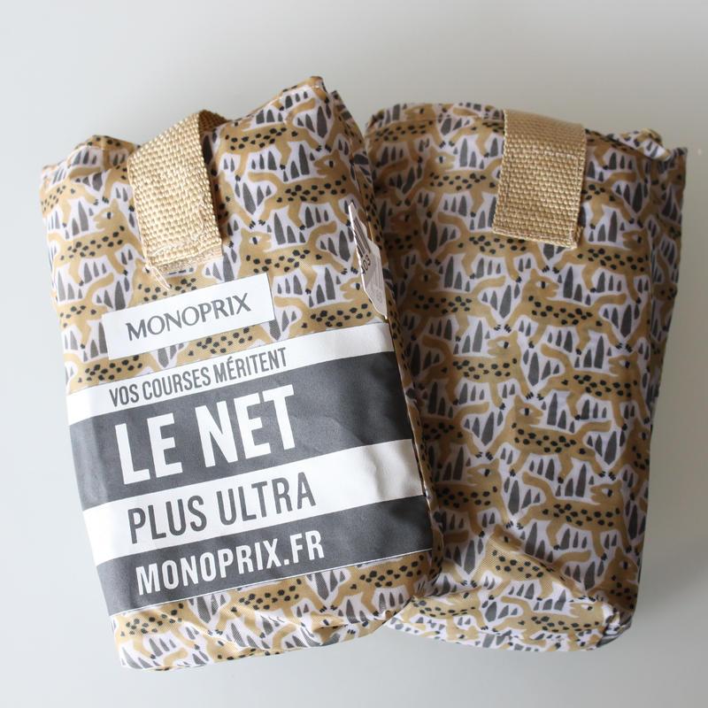 【今春新柄】パリのスーパーMONOPRIX エコバッグ ヒョウがたくさん柄