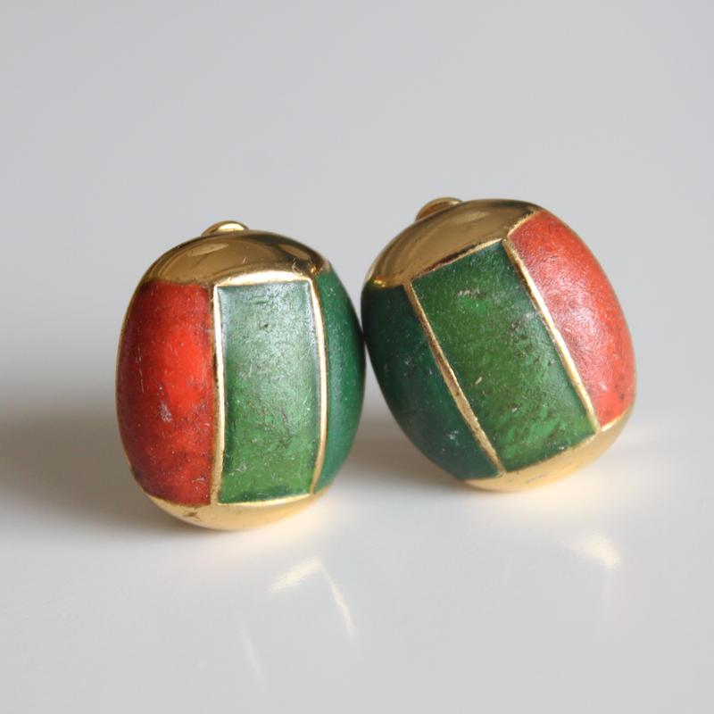 ORENA<オレナ>深緑と朱のイヤリング フランス製_222